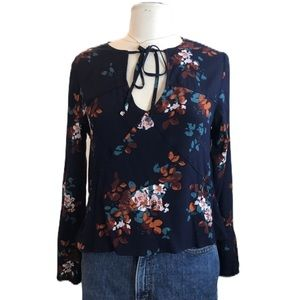 Gentle Fawn Tie Neck Floral Long Sleeve Top Size M